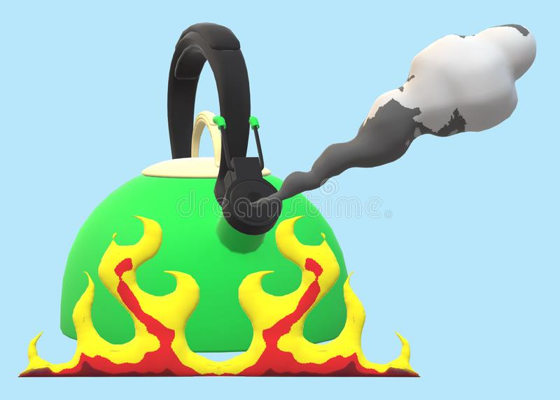 A green kettle boiling steam over open flames against a light blue backdrop stock illustration