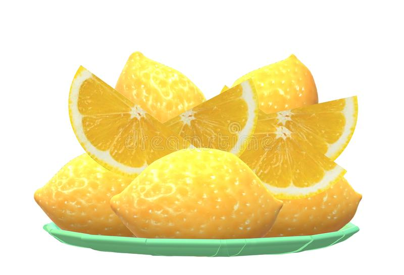 A green plate of full and sliced lemons royalty free stock photos