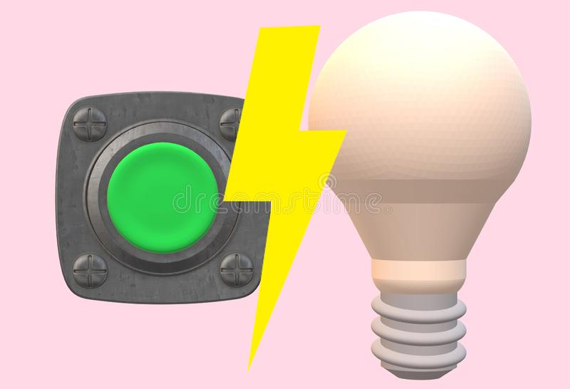 A green start push button and a light bulb with yellow lightning shock symbol. A computer generated illustration image of a green start push button and a light stock illustration