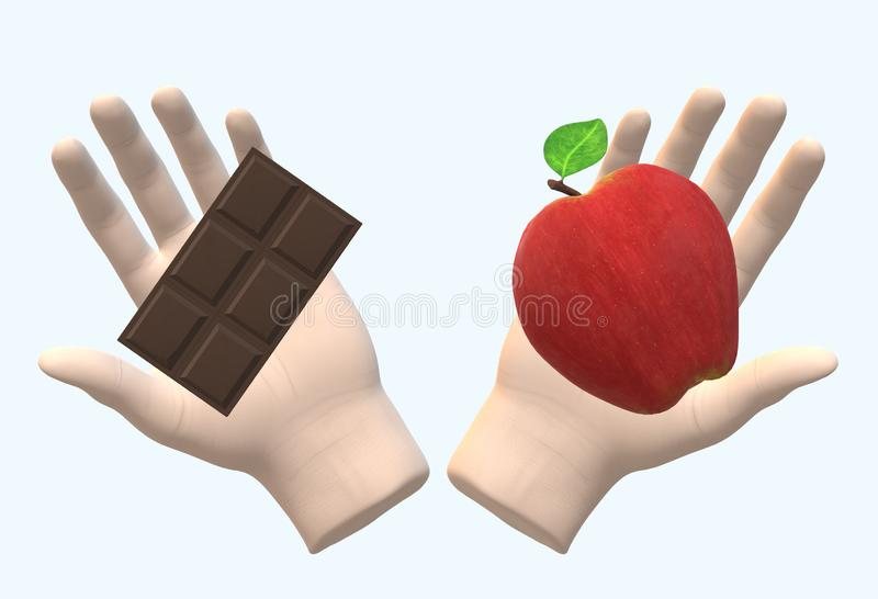 A pair of human hands holding a chocolate bar and an apple royalty free stock photo