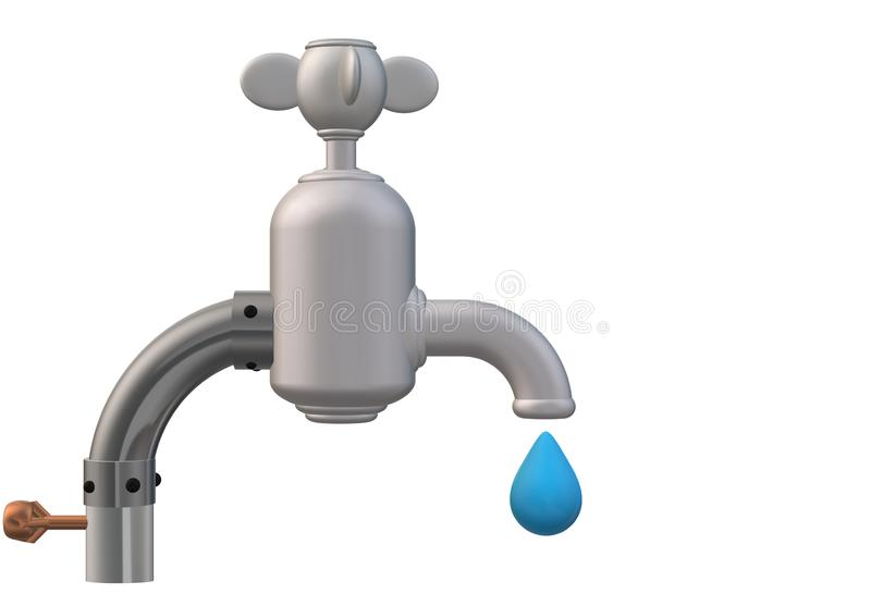 A leaking water tap faucet stock illustration