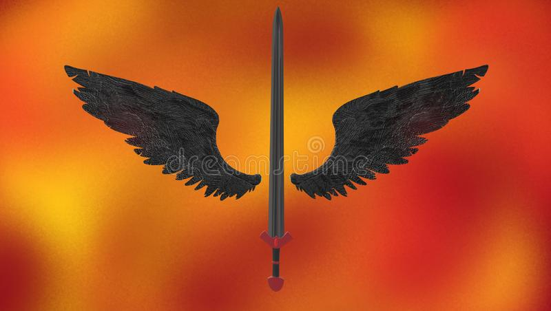 A long sword with black wings royalty free illustration