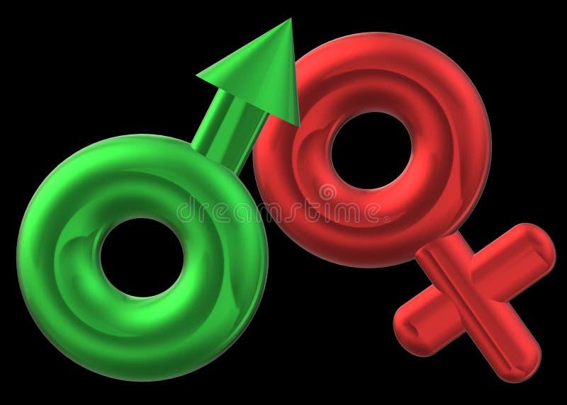 The male mars and female venus icon symbols against a black backdrop stock image