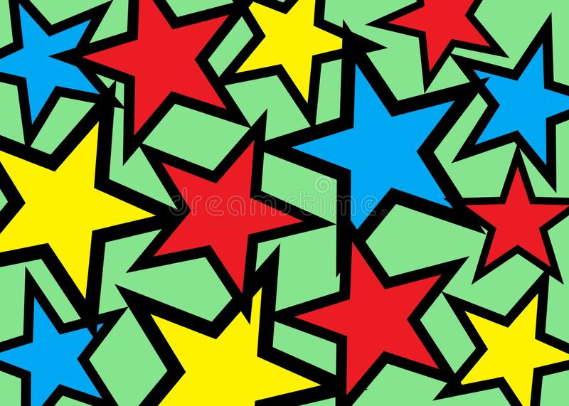 Many several multiple stars of different sizes and colors with black bold outlines against a light bright green backdrop stock photography