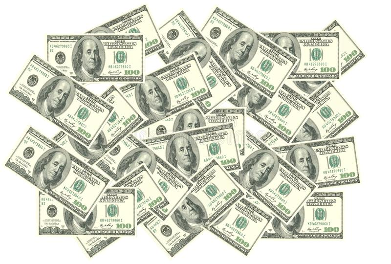 Several US dollars piled up against a white backdrop. A computer generated illustration image of many United States 100 dollar denomination money piled up vector illustration