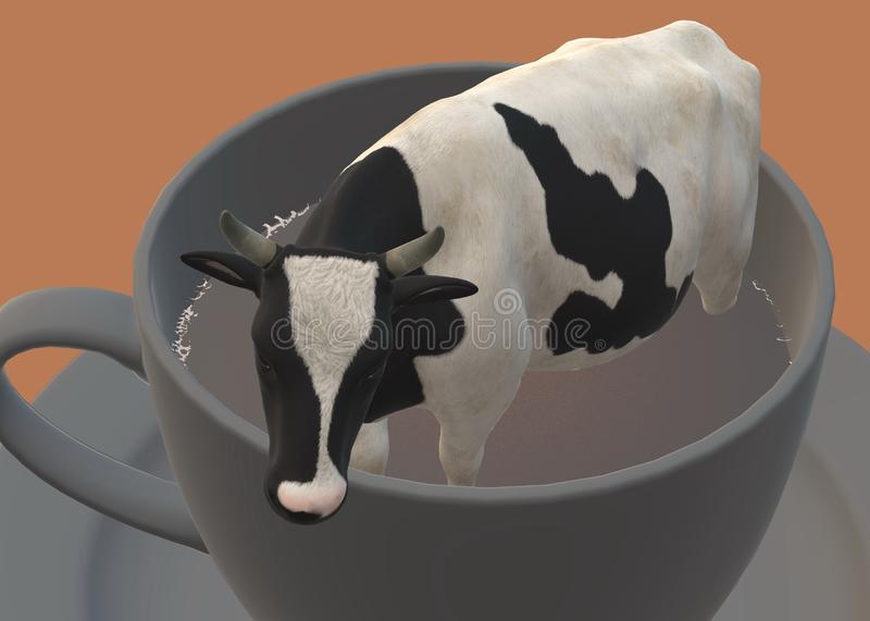 A milking cow cattle in a giant cup of black coffee, or a miniature cow cattle in a cup of black coffee royalty free stock photos