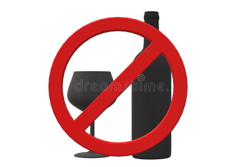 No liquor prohibition sign. Red borders with dark grey symbols. stock photography