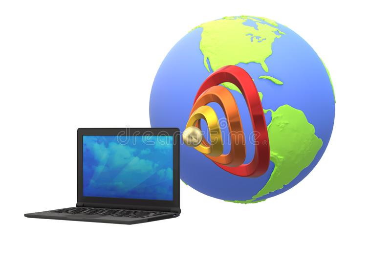 A notebook computer, signal waves and the globe stock illustration