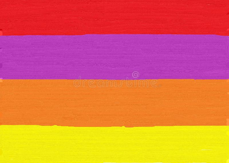 Oil painting strokes of stripes of red indigo purple orange and yellow royalty free stock photos