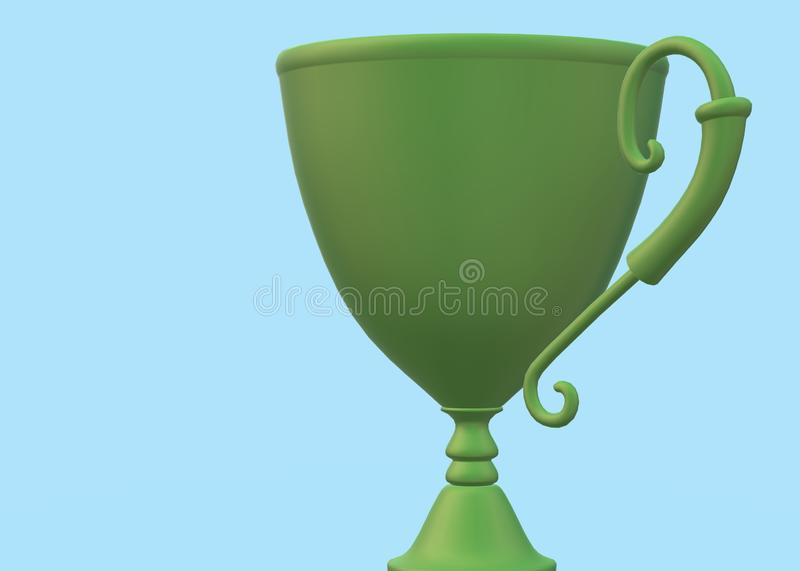 An olive coloured green cup with a vine like shaped handle vector illustration