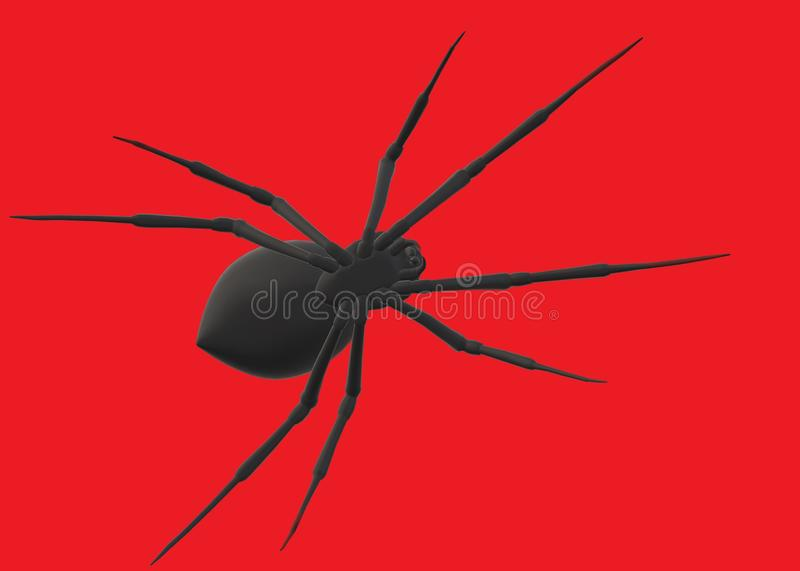 An outline shadow shape silhouette of a large black widow spider royalty free stock photography