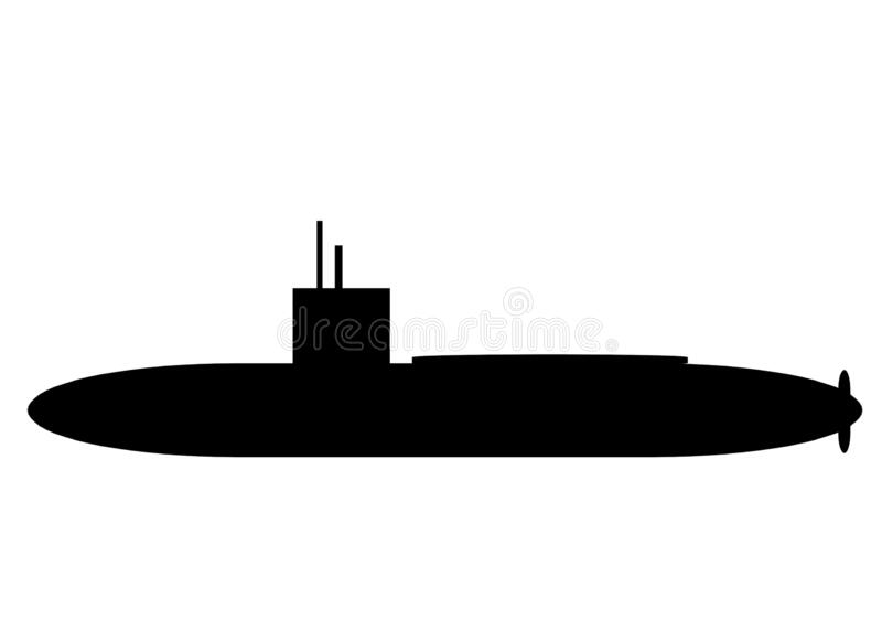 An outline silhouette shape of a military combat naval submarine in black stock images