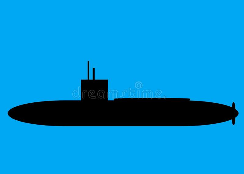 An outline silhouette shape of a military combat naval submarine in black royalty free stock photography