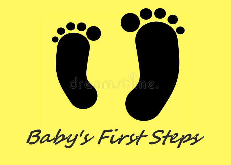 A pair of all black feet outline, one is bigger than the other, against a yellow backdrop. The words baby`s first steps royalty free stock photography