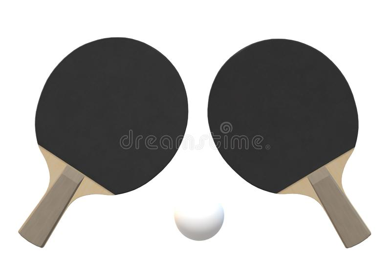 A pair of table tennis paddles rackets rear with a white ping pong ball. A computer generated illustration image of a pair of table tennis paddles rackets rear stock illustration