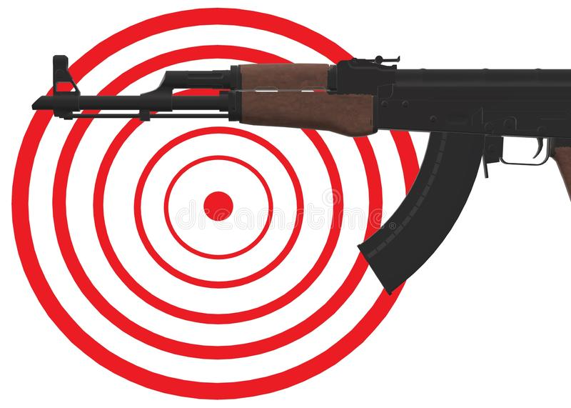 Partial view of an assault rifle pointing in the direction of a red bull target board stock image