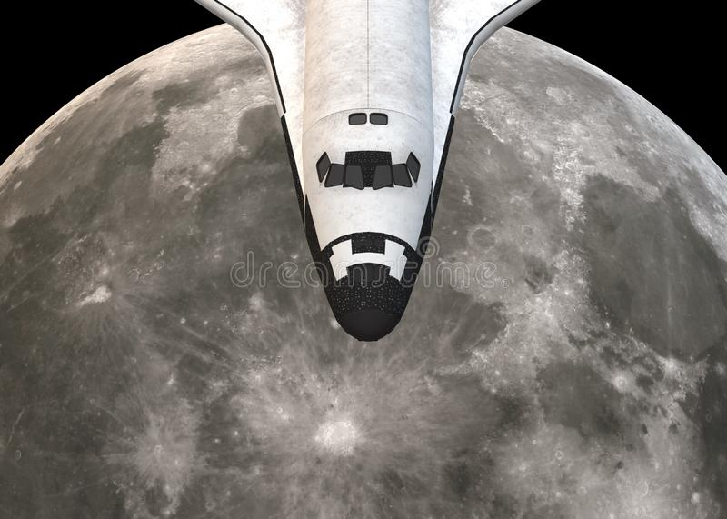 Partial view of the head of a space shuttle plane hovering over the moon royalty free stock image