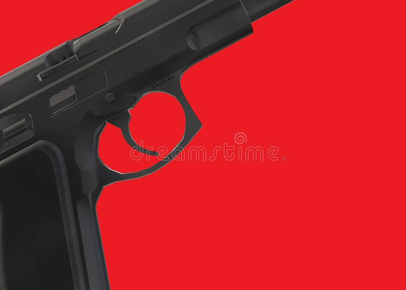 Partial view of a pistol gun focusing on the trigger area royalty free stock images