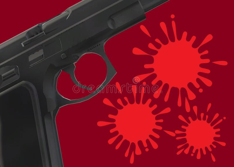 Partial view of a pistol gun focusing on the trigger area with blood stains royalty free stock images