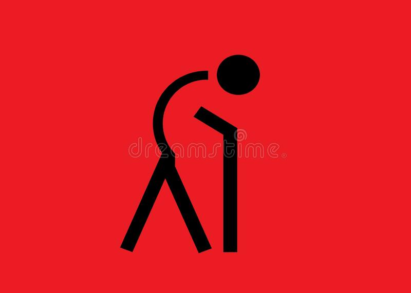 A symbol icon of a person with bend back using a walking stick against a red backdrop. A computer generated illustration image of a person with bend back using a stock illustration