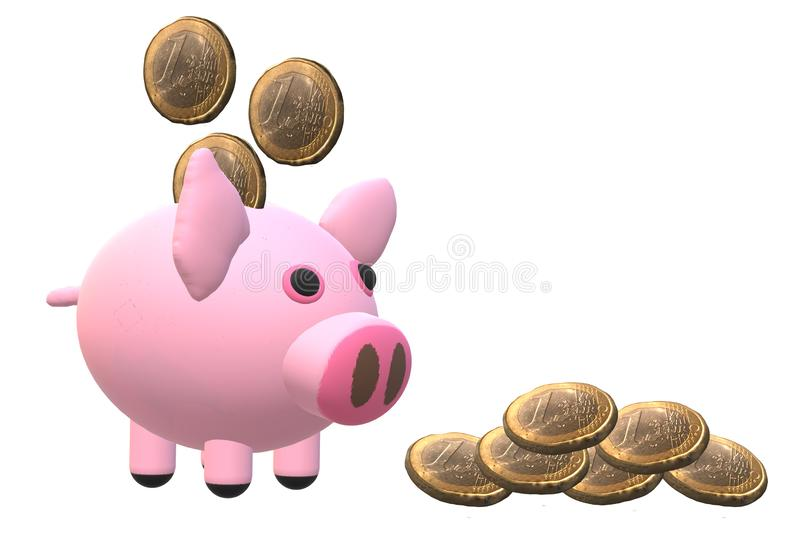 Pink piggy bank and some one dollar Euro coins vector illustration