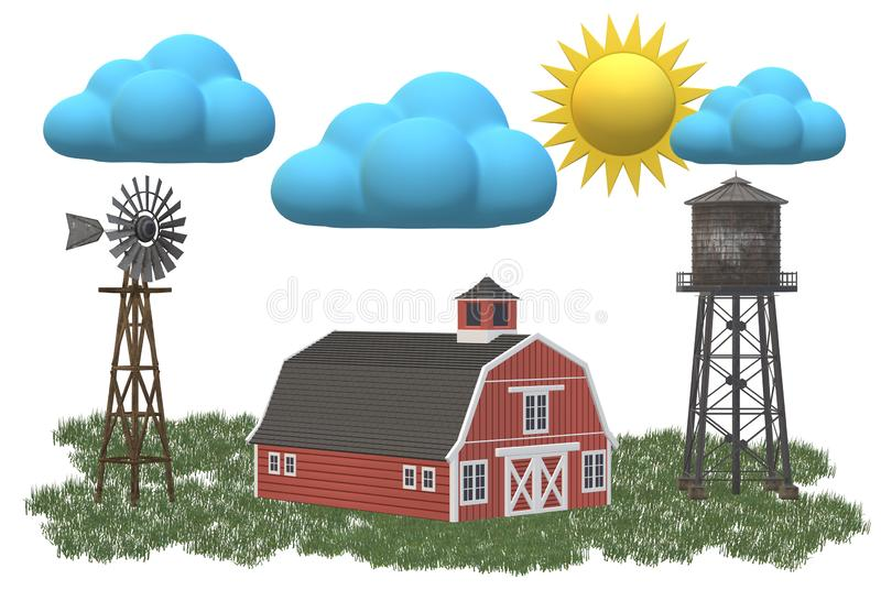 A red farmhouse with a water tower and windmill under the clear blue sunny sky. A computer generated illustration image of a red farmhouse with a water tower and vector illustration