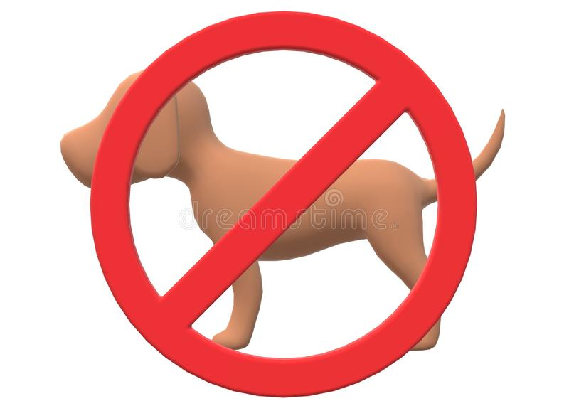 A red restricted sign over a dog - no pets allowed. A computer generated illustration image of a red restricted sign over a dog against a white backdrop vector illustration