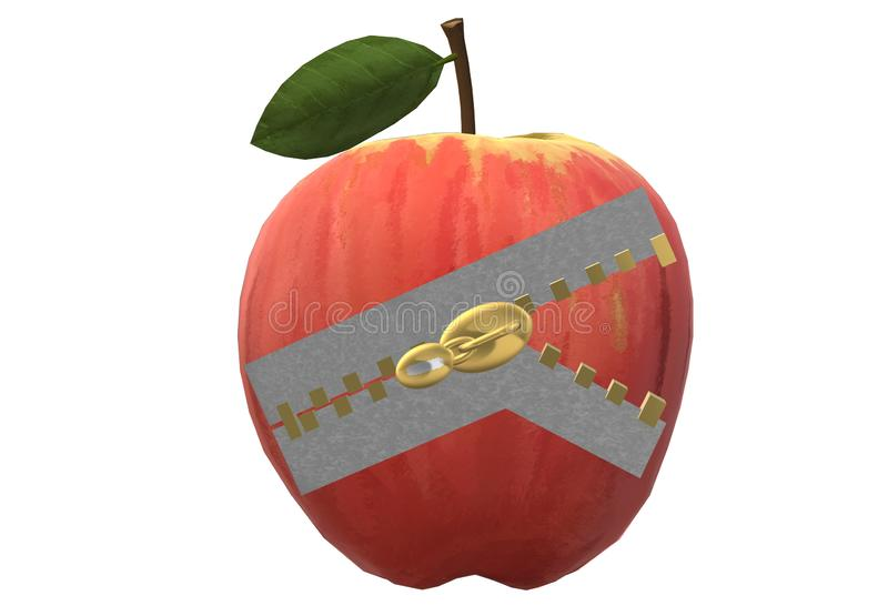 A red ripe apple with a zipper puller on it stock photos