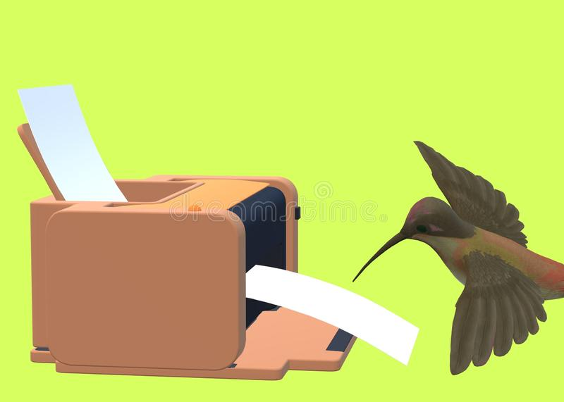 A safari brown printer fed by white papers with a humming bird stock photos