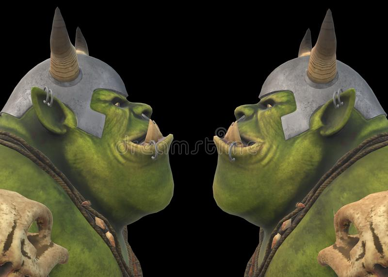 Side view of the heads of two green cave trolls wearing armor facing each other royalty free stock photography