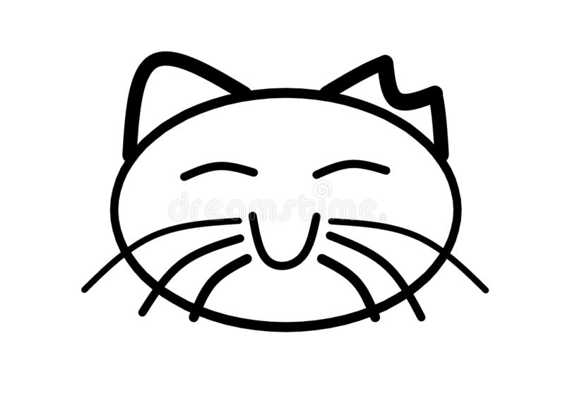 A simple black outlined shape of the face of a happy smiling neutered cat royalty free stock images