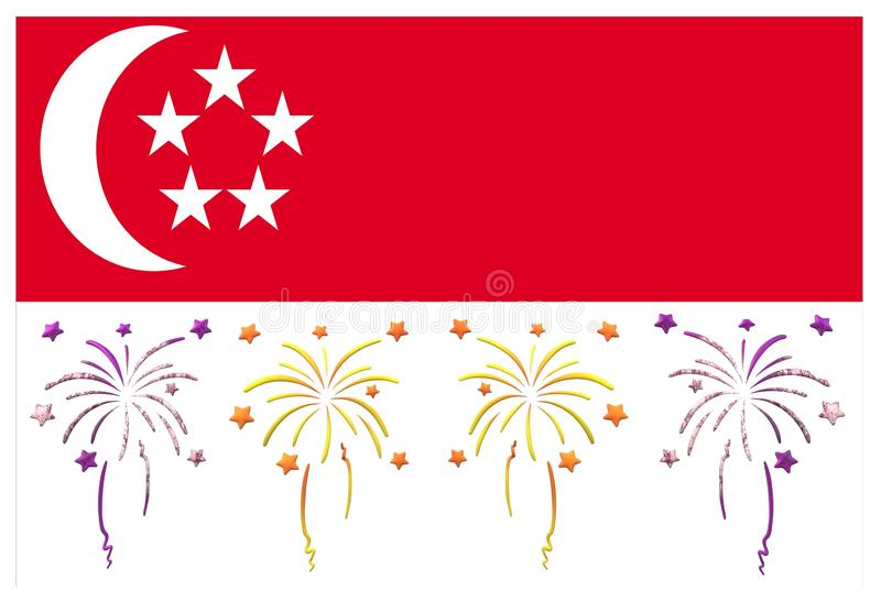 The SIngapore flag with its National Day theme royalty free illustration