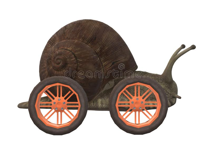 A slow brown snail with wheels royalty free stock photo