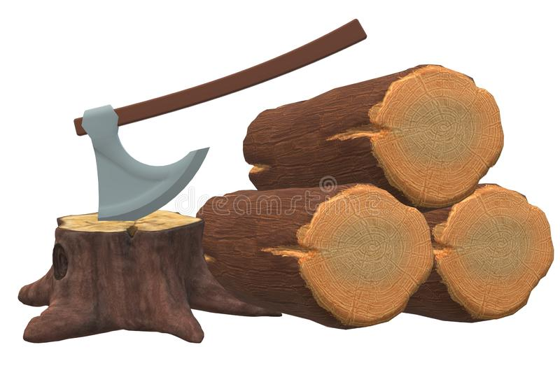 Some fallen cut tree logs wood, tree stumps and a woodcutter`s axe vector illustration
