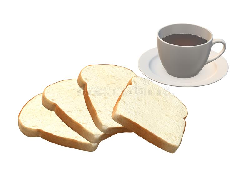 Some white bread slices and a cup of hot black coffee stock photo