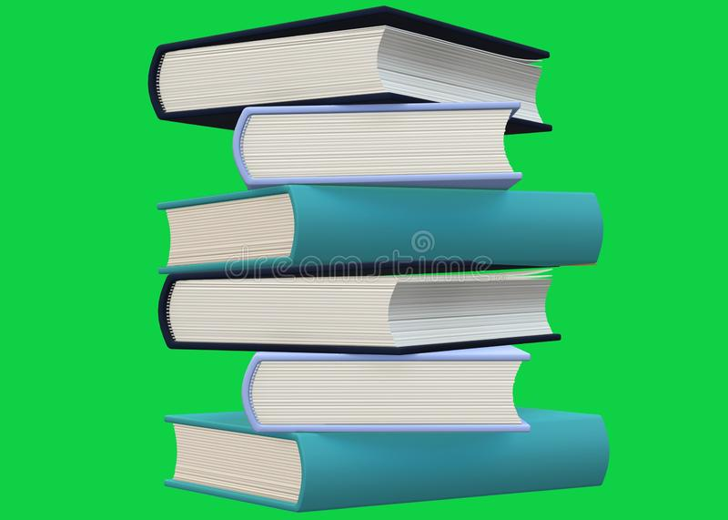 A stack of thick hard cover books against a bright green backdrop royalty free stock photo