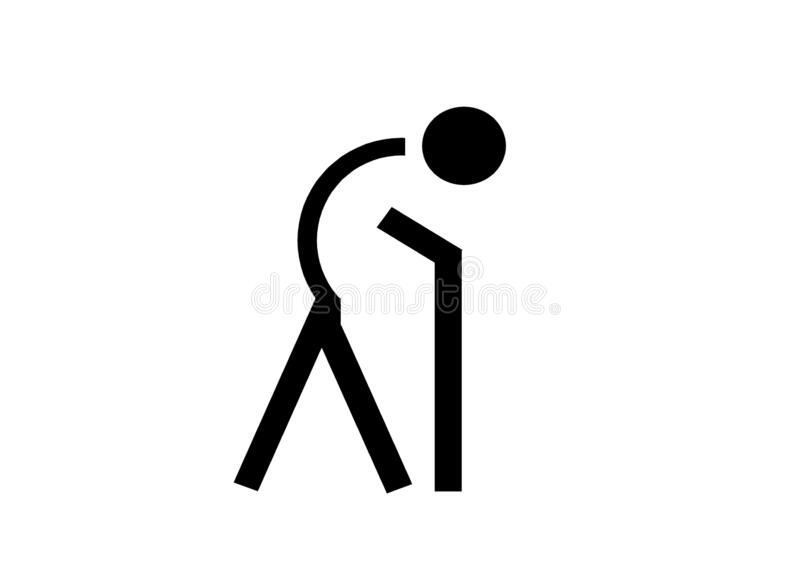 A symbol icon of a person with bend back using a walking stick against a white backdrop. A computer generated illustration image of a symbol icon of a person vector illustration