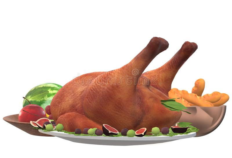 An illustration of a turkey main course Thanksgiving celebration meal stock images