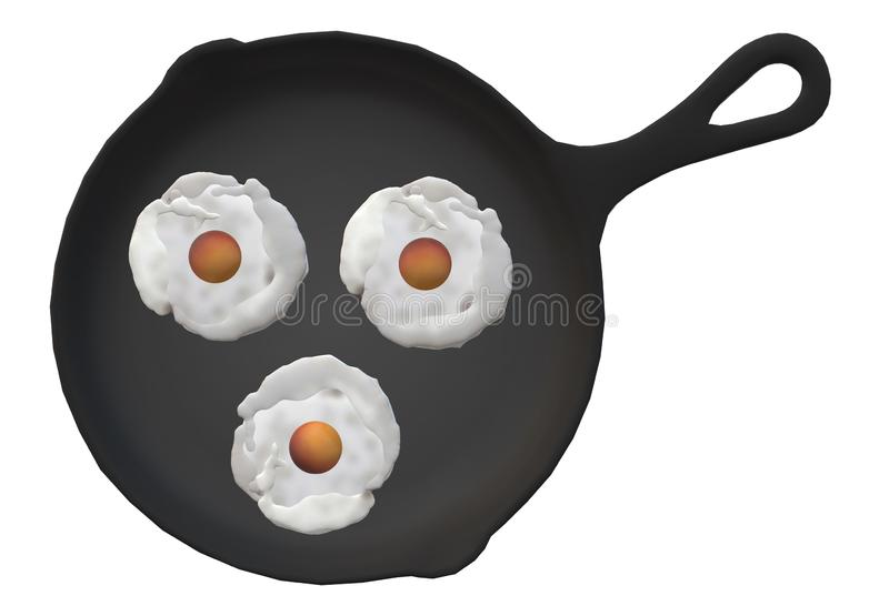 A top down view of a large black frying pans frying three egg omelettes royalty free stock photo