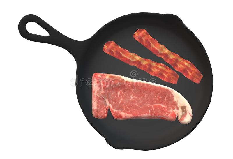 Top down view of raw steak meat and bacon on a large black frying pan stock image