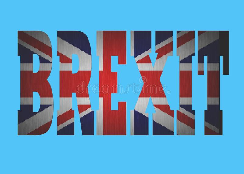 The word Brexit with the united Kingdom flag within against a white backdrop stock images