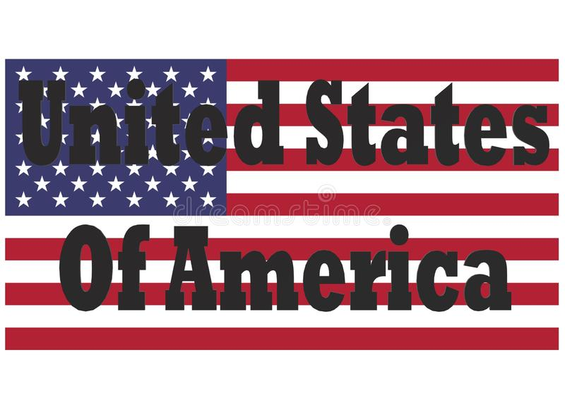 The words United States of America with the American flag in the white backdrop royalty free stock image