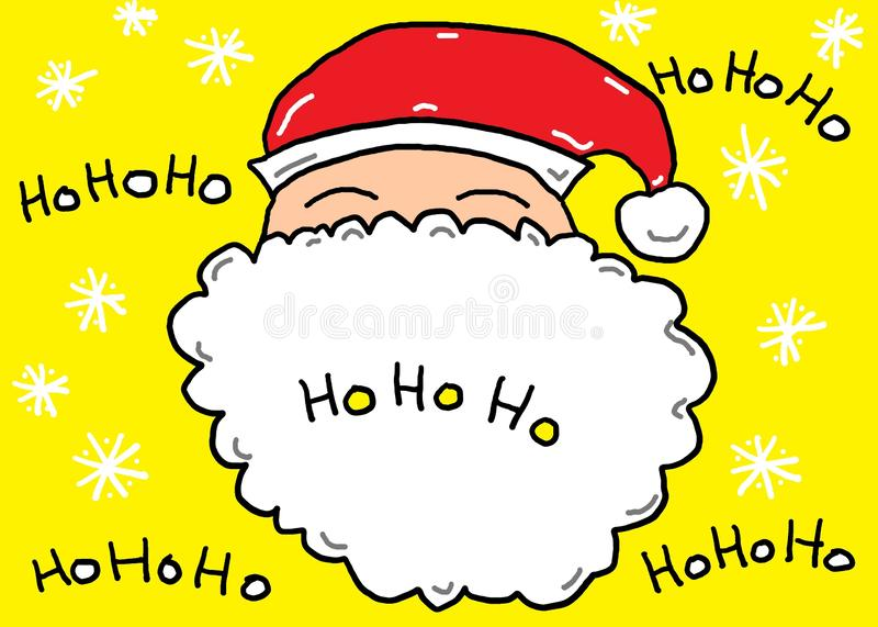 A sketch of the head and snowy white beard of Father Christmas stock images