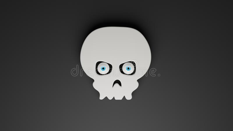 Computer generated illustration of white human skull with glancing eyeballs, 3D rendering stock illustration