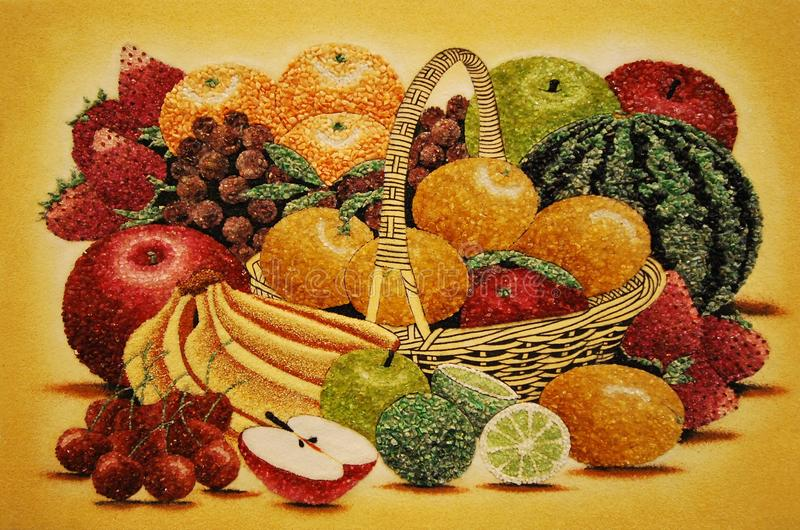 A computer generated image of an assortment of fruits. A photo taken on a computer generated illustration of an assortment of fresh fruits royalty free stock photo