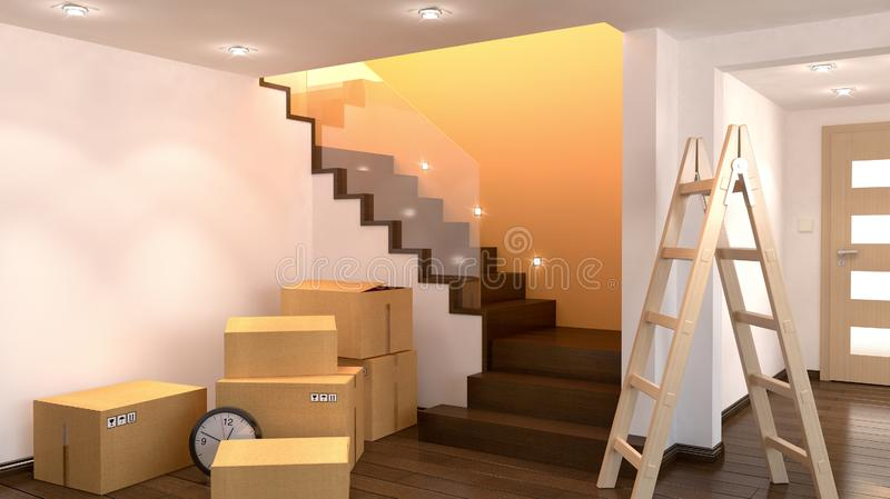 Empty room with cartoons, 3D illustration stock images