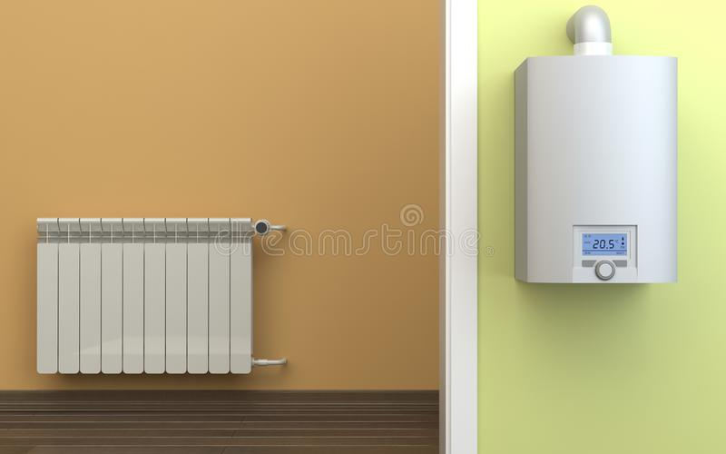 Heating radiator and gas boiler, 3D illustration royalty free stock image