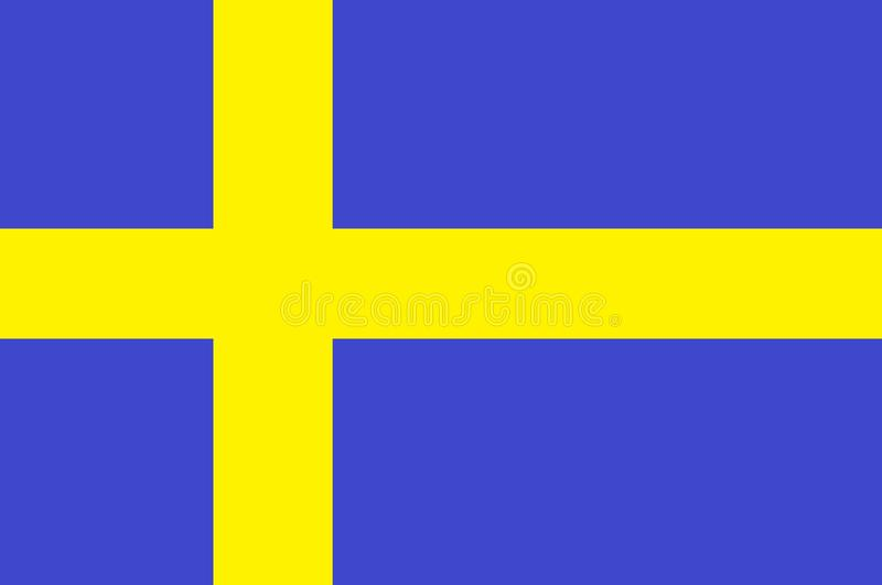 A computer generated image on the flag of Sweden stock illustration