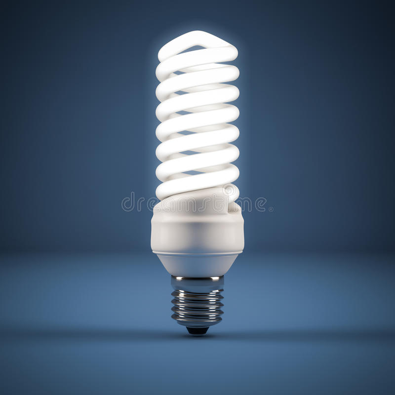 Fluorescent lamp. Computer generated image of a Fluorescent lamp on blue background royalty free illustration