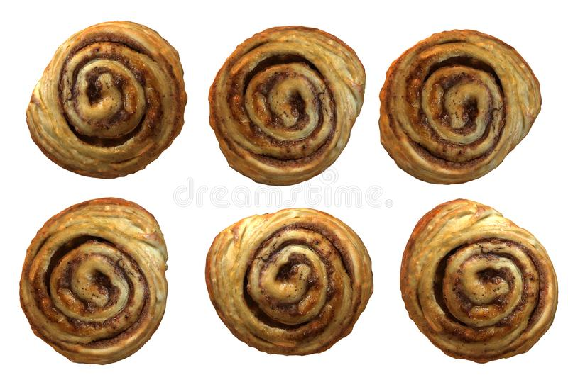 A computer generated image of some cinnamon rolls stock photography